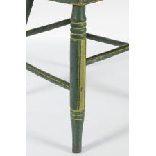 SET OF 6, GREEN, PLANK-SEATED, LYRE BACK, PENNSYLVANIA CHAIRS WITH YELLOW STRIPING, CA 1850-1880