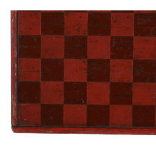 AMERICAN PARCHEESI BOARD WITH TERRIFIC DESIGN AND BEAUTIFUL, POLYCHROME-PAINTED SURFACE IN RED, GREEN, AND BLUE, CA 1870-1880
