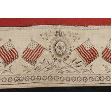 RARE, SILK, PATRIOTIC KERCHIEF WITH A DYNAMIC EAGLE AND 13 MARINER'S COMPASS-TYPE STARS, MADE CA 1840, ONE OF ONLY TWO KNOWN EXAMPLES IN THIS UNDOCUMENTED STYLE