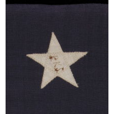 "13 STARS ARRANGED IN A 3-2-3-2-3 PATTERN ON A SMALL-SCALE ANTIQUE AMERICAN FLAG MARKED ""UNITED STATES ARMY STANDARD BUNTING"", CA 1896 - 1908"