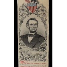 STEVENSGRAPH BOOK MARK WITH AN IMAGE OF ABRAHAM LINCOLN, MADE IN NEW JERSEY FOR THE 1876 CENTENNIAL INTERNATIONAL EXHIBITION IN PHILADELPHIA