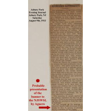SHIELD-SHAPED BANNER FROM THE NORTH JERSEY SHORE WOMAN'S SUFFRAGE LEAGUE, HANDED DOWN THROUGH THE FAMILY OF ITS PRESIDENT, VIOLA AGUERO, WITH A LARGE ARCHIVE OF MATERIAL THAT INCLUDES AN IMAGE OF HER ACTUALLY HOLDING THE BANNER