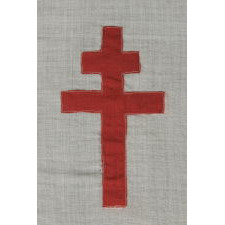 WWII PERIOD FRENCH FLAG WITH THE CROSS OF LORRAINE, THE SYMBOL OF THE FREE FRENCH; WITH BEAUTIFUL AND UNUSUAL COLORS, CA 1940-1945