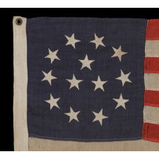 13 STARS IN WREATH PATTERN WITH 3 CENTER STARS, ONE OF THE MOST RARE 13 STAR FLAG DESIGNS KNOWN TO EXIST, MADE BY C.C. FULLER IN WORCESTER, MASS., 1890-1900