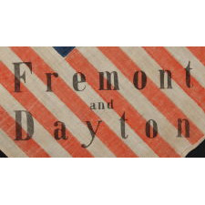 "31 STARS IN A GREAT STAR PATTERN, MADE FOR THE 1856 PRESIDENTIAL CAMPAIGN OF JOHN FRÉMONT & WILLIAM DAYTON; THE PLATE EXAMPLE FROM THE BOOK ""THREADS OF HISTORY. FRÉMONT OPENED THE GATEWAY TO CALIFORNIA STATEHOOD AND WAS THE REPUBLICAN PARTY'S FIRST PRESIDENTIAL CANDIDATE"