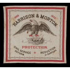 RARE KERCHIEF MADE FOR THE 1888 CAMPAIGN OF REPUBLICAN BENJAMIN HARRISON, WITH THE IMAGES OF A BALD EAGLE ON A NEST WITH EAGLETS