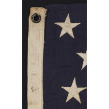 44 STARS ARRANGED IN ZIGZAGING OFFSET ROWS ON A SMALL SCALE FLAG WITH PIECED-AND-SEWN CONSTRUCTION, WYOMING STATEHOOD, 1890-1896