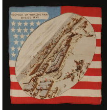 SILK KERCHIEF WITH A BIRD'S EYE VIEW OF THE WORLD COLUMBIAN EXPOSITION (CHICAGO WORLD'S FAIR), SET AGAINST AN AMERICAN FLAG BACKDROP, 1892-1893