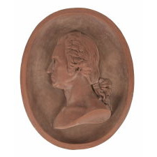 PLAQUE WITH A PORTRAIT BUST OF GEORGE WASHINGTON, NEW YORK TERRACOTTA CO., 1887, MADE IN ANTICIPATION OF THE CENTENNIAL ANNIVERSARY OF HIS 1889 INAUGURATION