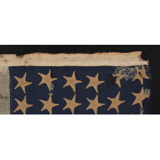 36 STARS, CIVIL WAR ERA, MADE BY ANNIN IN NEW YORK CITY, IN AN UNUSUAL TINY SIZE FOR THE PERIOD AND ENTIRELY HAND-SEWN, PROBABLY CARRIED AS A MILITARY CAMP COLORS OR GUIDON, NEVADA STATEHOOD, 1864-67