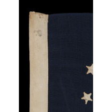 13 STARS IN THE 3rd MARYLAND PATTERN ON A CIVIL WAR ERA FLAG WITH THE SMALLEST HAND-APPLIQUÉD STARS THAT I HAVE EVER SEEN ON A WOOL EXAMPLE OF THE 19TH CENTURY