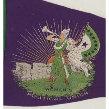 """RARE SUFFRAGETTE PENNANT WITH ICONIC BUGLER GIRL OR """"CLARION"""" IMAGE, MADE FOR HARRIOT STANTON EATON BLANCH'S WOMENS POLITICAL UNION, 1910-1915"""