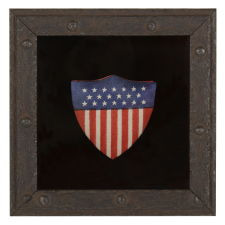 SHIELD-SHAPED PATRIOTIC BOX, SILK & PAPER, ca 1898-1926