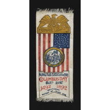 PATRIOTIC RIBBON WITH ILLUSTRATIONS OF COLUMBUS' LANDING AND A 44 STAR FLAG WITH A BEAUTIFUL MEDALLION CONFIGURATION, 1892