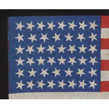 46 STARS ON A BRILLIANT, ROYAL BLUE CANTON, 1907-1912, OKLAHOMA STATEHOOD, SCATTERED STAR POSITIONING