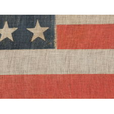 38 STARS ON A PARADE FLAG WITH ESPECIALLY LARGE SCALE AND BEAUTIFUL, PERSIMMON RED STRIPES, COLORADO STATEHOOD, 1876-1889