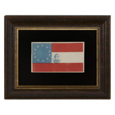CIVIL WAR PERIOD COVER (ENVELOPE) IN THE FORM OF AN 11 STAR 1ST NATIONAL PATTERN FLAG WITH A PORTRAIT IMAGE OF JEFFERSON DAVIS, 1861