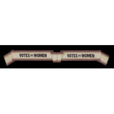 "RARE SILK SUFFRAGETTE SASH IN VIOLET & GREEN WITH ""VOTES FOR WOMEN"" TEXT, MADE FOR THE WOMEN'S POLITICAL UNION IN NEW YORK CITY, 1910-1915"