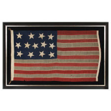 """13 HUGE STARS, HAPHAZARDLY CONFIGURED IN A 4-5-4 PATTERN, ON A STRIKINGLY GRAPHIC FLAG OF THE CIVIL WAR ERA, MARKED """"BIG BAY"""" AND PROBABLY EMPLOYED IN U.S. ARMY OR NAVY SERVICE"""
