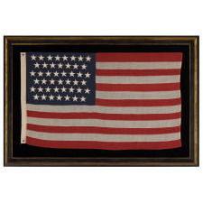 45 STARS ON A SMALL SCALE FLAG OF THE PERIOD AMONG THOSE WITH PIECED-AND-SEWN CONSTRUCTION, 1896-1908, SPANISH-AMERICAN WAR ERA, UTAH STATEHOOD