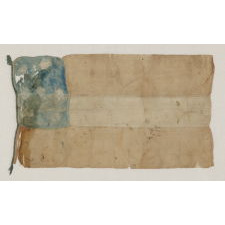CONFEDERATE FIRST NATIONAL (STARS & BARS) PATTERN BIBLE FLAG, HANDED DOWN THROUGH THE FAMILY OF JAMES H. COOK, A MEMBER OF MORGAN'S RAIDERS; A LARGE FORMAT EXAMPLE WITH 7 STARS, IN A DISTRESSED BUT ENDEARING STATE OF PRESERVATION, PROBABLY 1861