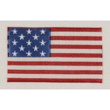 13 STAR RIBBON, WOVEN SILK, 1876-1910