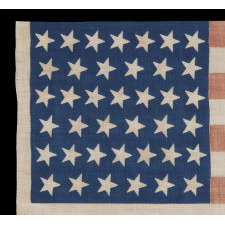 39 TILTED STARS ON AN ANTIQUE AMERICAN FLAG WITH A ROYAL BLUE CANTON, NEVER AN OFFICIAL STAR COUNT, 1876-1889