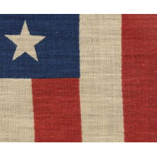 38 STARS IN A LINEAL ARRANGEMENT THAT IS COMPRISED OF JUST 5 ROWS OF CANTED STARS, UNUSUAL FOR A PARADE FLAG IN THIS STAR COUNT, PROBABLY MADE FOR THE CENTENNIAL INTERNATIONAL EXHIBITION IN PHILADELPHIA IN 1876, THIS STAR COUNT REFLECTING COLORADO STATEHOOD