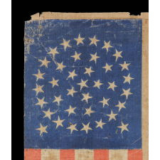 38 STARS IN A MEDALLION CONFIGURATION WITH 2 OUTLIERS, COLORADO STATEHOOD, 1876-1889, A WELL-WORN EXAMPLE WITH BOLD COLORATION