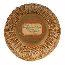 OPEN, SWING-HANDLE, NANTUCKET LIGHTSHIP SEWING BASKET, MADE BY FERDINANT SYLVARO (1868-1952) AND SIGNED, CA 1925
