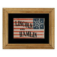 """33 STARS IN AN INTERESTING VARIATION OF THE """"GREAT STAR"""" CONFIGURATION, MADE FOR THE 1860 CAMPAIGN OF ABRAHAM LINCOLN & HANNIBAL HAMLIN, WITH WHIMSICAL SERPENTINE TEXT"""