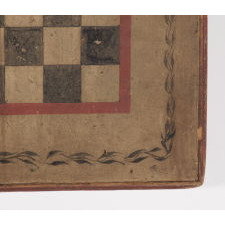 MASTERPIECE QUALITY COMBINATION FOX & GEESE AND MILL GAME BOARD, IN ORIGINAL AND UNTOUCHED RED, OCHRE WHITE AND BLUE PAINT, WITH PINWHEEL QUILT PATTERN DESIGN IN THE CENTER AND A WINDING VINE BORDER, CA 1820-1845, WITH CHECKERS ON THE REVERSE, FRESH-TO-THE-MARKET FROM A TOP DEALER'S OWN COLLECTION