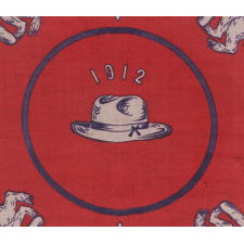 "SILK CAMPAIGN KERCHIEF IN AN UNUSUAL, HORIZONTAL FORMAT, MADE TO PROMOTE THE 1912 PRESIDENTIAL RUN OF TEDDY ROOSEVELT, WHEN HE RAN ON THE NATIONAL PROGRESSIVE PARTY ""BULL MOOSE"" TICKET"