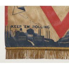 """THE BEST OF ALL REMEMBER PEARL HARBOR BANNERS THAT I HAVE EVER ENCOUNTERED, WITH UNCLE SAM , A """"V"""" FOR VICTORY, """"KEEP 'EM ROLLING AND KEEP 'EM FLYING SLOGANS"""