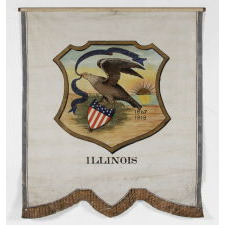 HAND-PAINTED 19TH CENTURY BANNER WITH AN 1867 VERSION OF THE SEAL OF THE STATE OF ILLINOIS, PROPOSED IN THAT YEAR BY THE SECRETARY OF STATE, BUT IN A VARIATION NEVER FORMALLY ADOPTED