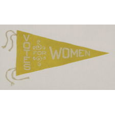 "TRIANGULAR FELT SUFFRAGETTE PENNANT WITH AN INTERESTING DESIGN AND TEXT THAT READS: ""VOTES FOR WOMEN"", AN UNUSUAL COLOR VARIANT OF THIS STYLE, 1910-1920"
