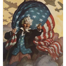 STRIKING AND RARE WWII POSTER BY N.C. WYETH, IN THE LARGEST AND RAREST OF THREE KNOWN SIZES, WITH A WINDSWEPT IMAGE OF A FERVENT UNCLE SAM DIRECTING AMERICAN TROOPS TO THE FIGHT