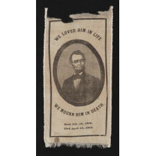 EXCEPTIONAL ABRAHAM LINCOLN MOURNING SASH WITH PRINTED RIBBON, 1865