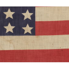 42 STARS IN A WAVE CONFIGURATION ON AN ANTIQUE AMERICAN FLAG, NEVER AN OFFICIAL STAR COUNT, 1889-1890, WASHINGTON STATEHOOD