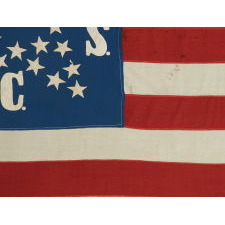 "CIVIL WAR PRESENTATION BATTLE FLAG OF THE 64TH NEW YORK VOLUNTEERS, COMPANY ""C"", DESCENDED THROUGH THE FAMILY OF ITS COLOR SEARGEANT, NICHOLAS WHITMIRE, ONE OF THE BEST OF ALL EXAMPLES THAT EXISTS IN PRIVATE HANDS"