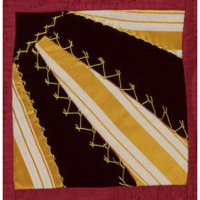 STRIKING LANCASTER COUNTY RIBBON SILK FAN PATTERN QUILT, REMINISCENT OF NECK TIES