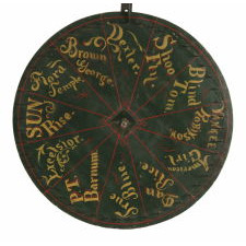 EXCEPTIONAL HORE RACE GAME WHEEL FEATURING THE NAMES OF FAMOUS AMERICAN HARNESS HORSE CHAMPIONS, CA 1870-1880's