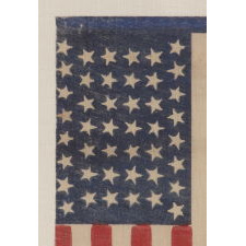 44 TUMBLING STARS IN AN HOURGLASS FORMATION, ON AN ANTIQUE AMERICAN PARADE FLAG OF THE 1890-1896 PERIOD,, REFLECTS WYOMING STATEHOOD