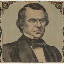 EXTRAORDINARILY RARE AND COLORFUL 1865 ANDREW JOHNSON BROADSIDE FEATURING HIM AS A SITTING PRESIDENT, SURROUNDED BY A HOST OF CIVIL WAR HEROS