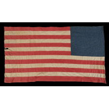 45 HAND-SEWN STARS ON A DENIM BLUE CANTON, WITH GREAT FOLK QUALITIES, ON A HOMEMADE FLAG OF THE 1896-1908 PERIOD, SPANISH-AMERICAN WAR ERA, UTAH STATEHOOD