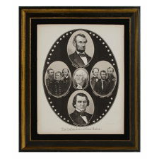 """THE DEFENDERS OF THE UNION"": LATE CIVIL WAR BROADSIDE WITH PORTRAITS OF ABRAHAM LINCOLN, ANDREW JOHNSON, GEORGE WASHINGTON, SIX CIVIL WAR GENERALS & ADMIRALS"