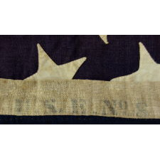 "ENTIRELY HAND-SEWN, 13 STAR, U.S. NAVY SMALL BOAT ENSIGN, CA 1884-1889, SIGNED ""LYMAN,"" ""THORNTON,"" and ""GRIMM"""