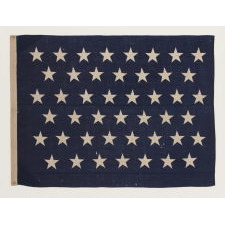 ANTIQUE AMERICAN U.S. NAVY JACK WITH 45 STARS, MADE BETWEEN 1896 AND 1908, IN THE PERIOD WHEN UTAH WAS THE MOST RECENT STATE TO JOIN THE UNION, DURING THE SPANISH-AMERICAN WAR ERA