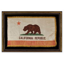 CALIFORNIA STATE FLAG, WITH ESPECIALLY ATTRACTIVE COLORATION AND A GOLD SILK FRINGE, MADE BY EMERSON MFG. CO. IN SAN FRANCISCO, CA 1940-50: