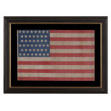 45 STARS IN DANCING ROWS ON AN ANTIQUE AMERICAN FLAG WITH A BEAUTIFUL, COBALT BLUE CANTON, AN UNUSUAL VARIANT, 1896-1908, SPANISH-AMERICAN WAR ERA, UTAH STATEHOOD